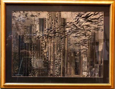 Gottfried Salzmann, 'Rare Large Collage New York Cityscape Skyline Assemblage Painting', 20th Century