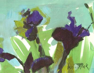 Jennifer Hornyak, 'Violettes et ciel - small, bright green, blue, purple floral still life on paper', 2015