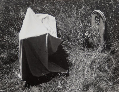 Van Deren Coke, 'Untitled (Tombstone and cloth)', 1955