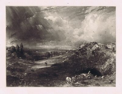John Constable, 'A Heath (Hampstead Heath, Stormy Noon - Sand Diggers)'', 1830