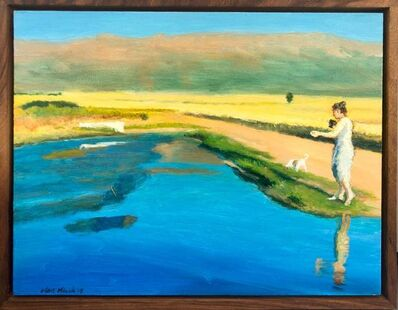 Clare Menck, 'Reflection with goblet and Jack Russell', 2020