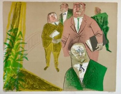 William Gropper, 'Lawyers, Men in Suits Americana Social Realist Lithograph WPA Artist ', Mid-20th Century
