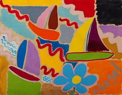 Malcolm de Chazal, 'Untitled (Sail boats and flower)'