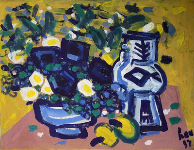 Trans Luu Hau, ''A Still Life with Flowers and Fruits' Gouache on Paper Still Life Painting', 1992