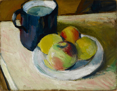 August Macke, 'Milchkrug und Äpfel auf Teller (verso: Haus in Tegernsee, Zwiebel)', 1909