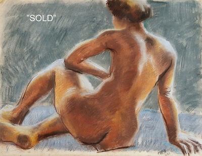 Reginald Marsh, 'Sitting Nude', 1953