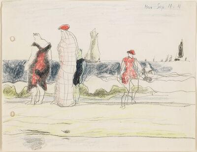 Lyonel Feininger, 'Strandszene mit Badenden', 1911