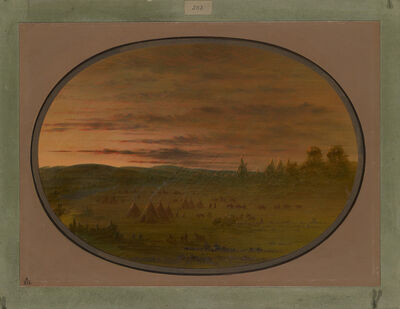 George Catlin, 'An Indian Encampment at Sunset', 1861/1869
