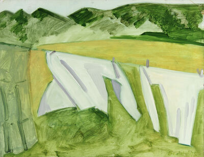 Lois Dodd, 'Two White Sheets and Green Skirt at Left', 1978