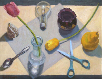 Kathy A. Moore, 'LOOKING DOWN at FLOWERS AND LIGHT BULB', 2017