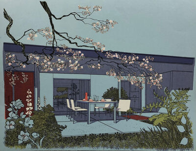 Carlos Diniz, 'Monarch Bay Homes, Outdoor Dining Room (Ladd and Kelsey, Architects) (blue)', 1961