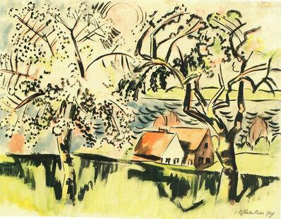 Max Pechstein, 'Landschaft mit blühenden Bäumen und zwei Fischern', 1919