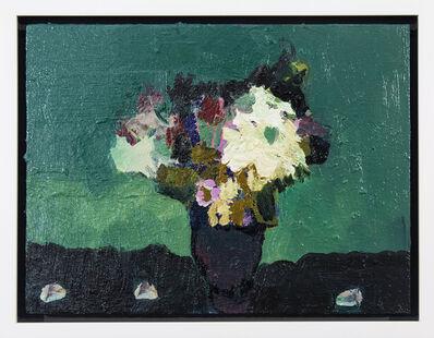 Jennifer Hornyak, 'Viridian with Dark Pewter - small dark green, teal, white, floral still life oil', 2018