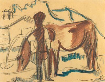 Ernst Ludwig Kirchner, 'Bauer und trinkende Kuh', 1924
