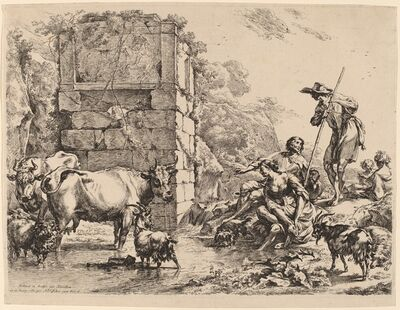 Nicolaes Pietersz Berchem, 'Cow Drinking', 1680