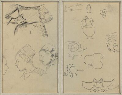 Paul Gauguin, 'Four Studies of Breton Women; Shapes and Vases [verso]', 1884-1888