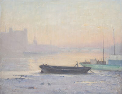 Charles Wheeler, '(Barges on the Thames, with Vauxhall Bridge in the distance)', ca. 1914