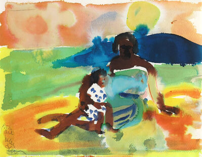 Romare Bearden, 'MOTHER AND CHILD ON SHORE', 1979