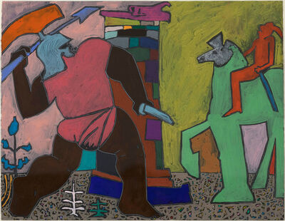 Harold Town, 'God Series #12 (The Centaur Chiron Instructing the Young Achilles)', 1975