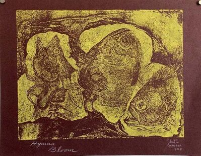 Hyman Bloom, 'Boston Abstract Expressionist Color Hyman Bloom Monoprint Etching Print Fish ', 20th Century