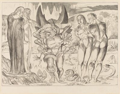 William Blake, 'The Circle of the Thieves; Agnolo Brunelleschi Attacked by a Six-Footed Serpent', 1827