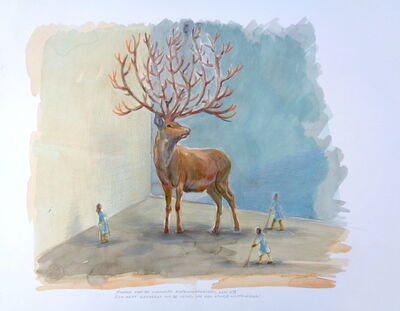 """Marta & Slava, '""""Museum for the latest biotechnologies, room N7. A deer bred from the cells of a piece of deer antlers """",', 2018"""