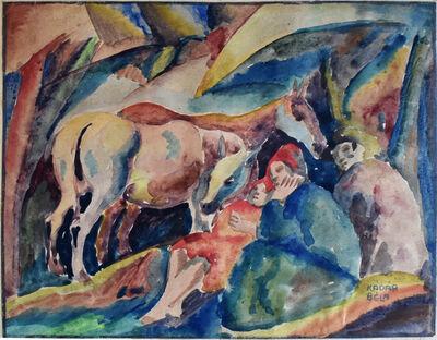Béla Kádár, 'Three Figures and a Donkey', ca. 1916