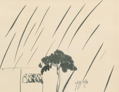 Walasse Ting 丁雄泉, 'Four parrots in the rain', ca. 1989