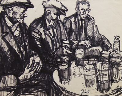 Norman Cornish, 'Three drinkers at table', ca. 1965
