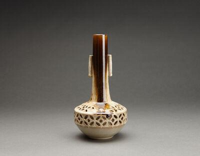 Miraku Kamei XV, 'Flower vase (hanaire), shippo design openwork and cylindrical handles'