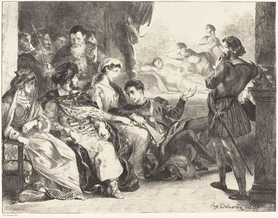 Eugène Delacroix, 'Players Enacting the Poisoning of Hamlet's Father (Act III, Scne II)', 1835