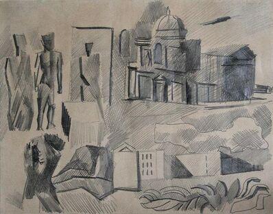 Mario Sironi, 'Composizione con figure e motivi architettonici', 1940s