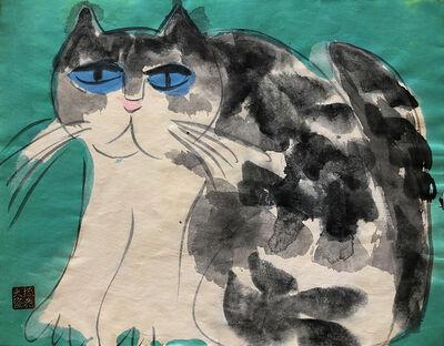 Walasse Ting 丁雄泉, 'Grumpy Cat', ca. 1990