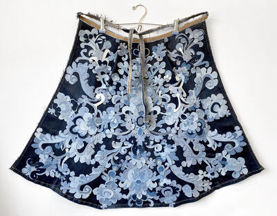 Libby Newell, 'Meticulously Distressed Denim Cape, Gros Point Needle Lace', 2021