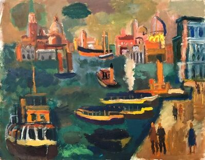 Abbott Pattison, 'Venice, Italy Panorama American Modernist Oil Painting Chicago Artist. 2 Sided', 1950-1959