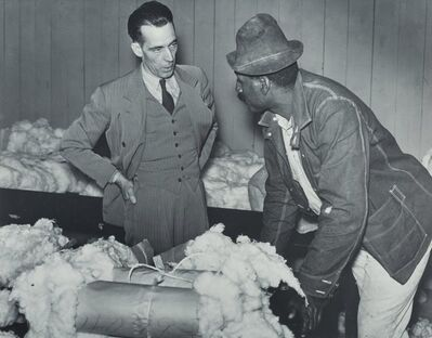 Marion Post Wolcott, 'Tenant Farmer Brings His Cotton Samples to Buyer and Discusses Prices, Clarksdale, MIssissippi', 1939-printed later