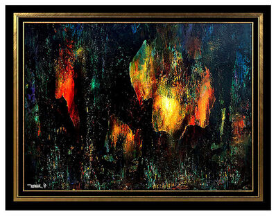 Leonardo Nierman, 'Large LEONARDO NIERMAN Original Signed OIL PAINTING on BOARD Abstract Art CAVE', Mid-20th Century