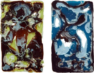 Jesse Greenberg, 'Two works: (i) PlateSet (lime and brown); (ii) PlateSet (blue and brown)', (i) 2013; (ii) 2014