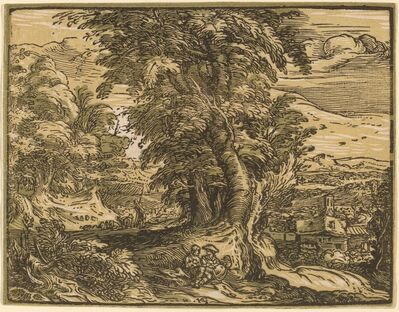 Hendrik Goltzius, 'Landscape with a Seated Couple', probably 1592/1595