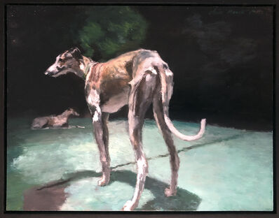 Clare Menck, 'Two greyhounds at night', 2019