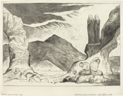 William Blake, 'The Circle of the Falsifiers; Dante and Virgil Covering their Noses because of the stench', 1827