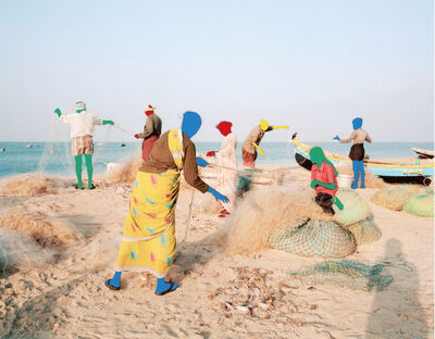 Vasantha Yogananthan, ' The Fishermen Danushkodi, Tamil Nadu, India', 2013 (painted 2020)