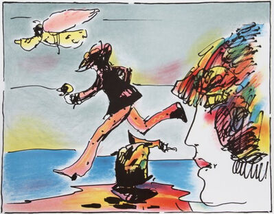 Peter Max, 'Runner and Flying Sage - Limited Edition Serigraph by Peter Max', 1982