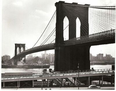 Andreas Feininger, 'Mitsui Line ship passing under Brooklyn Bridge on the East River', 1954