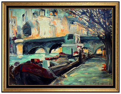 Francois Gall, 'FRANCOIS GALL Original OIL PAINTING On Board Signed Paris Landscape Artwork', 20th Century