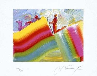 Peter Max, 'Two Figures on Rainbow ', 2001