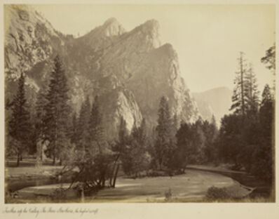 Carleton E. Watkins, 'Further Up the Valley. The Three Brothers, the highest, 3,830 ft.', 1866