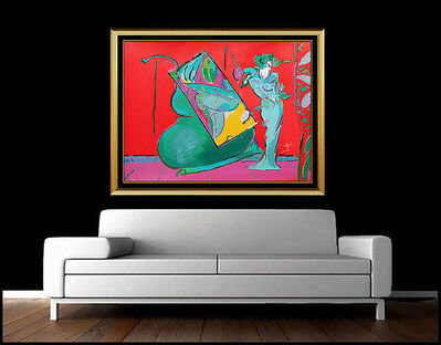 Peter Max, 'PETER MAX Original Color Silkscreen Large Hand Signed Lady Red Vase Flowers Art', 20th Century