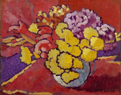 Louis Valtat, 'Fleurs jaunes, draperie rouge', 1949