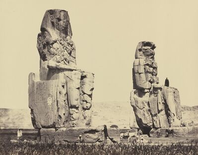 Francis Frith, 'The Statues of the Plain, Thebes', 1858